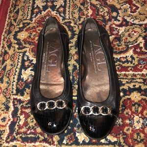 AGL flats, black leather size 7 1/2